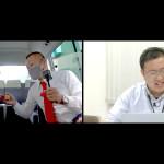 02 リモート中のU字工事と岩手ケーブルテレビジョン漆田さん